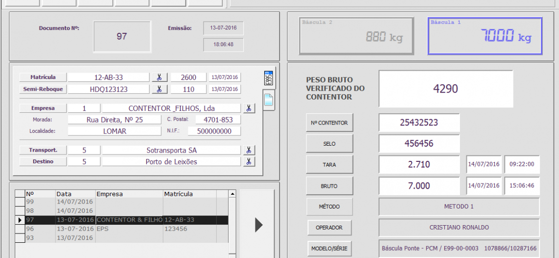 Balanças Marques Weighing Software modified to the new SOLAS regulations