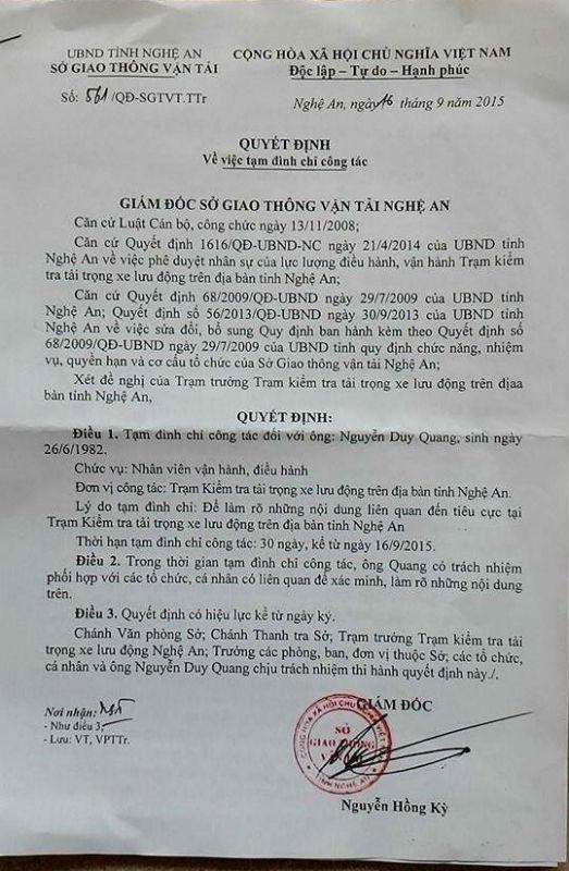 Quyết định tạm đình chỉ công tác đối với ông Nguyễn Duy Quang.